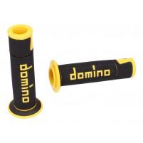 Rukojeti Domino A450 On-Road Racing černá / žlutá s otevřenými konci