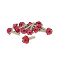 Hliníkové šrouby M6x20 červené 12 ks