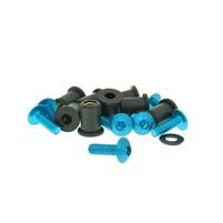 Hliníkové šrouby a matky M5x16 modré 8 párů