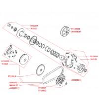 Variátor, spojka, řemen variátoru pro GY6 139 QMB/QMA 50 ccm 4T