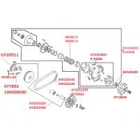 Spojka, variátor pro 4-takty GY6 125 152QMI/157QMJ